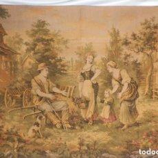 Antigüedades: T5 GRAN TAPIZ DE JAQUARD GOBELINO PRINCIPIOS S XX ESCENA BUCÓLICA. Lote 128892087