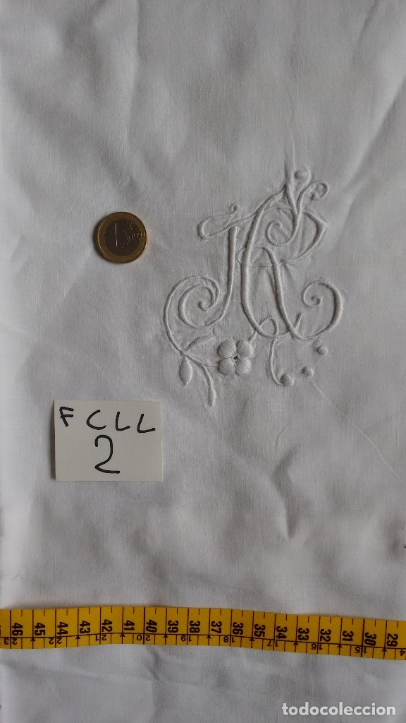 Antigüedades: Antigua funda de hilo para cuadrante de cama. ( FCLL-2 ) - Foto 3 - 128895919