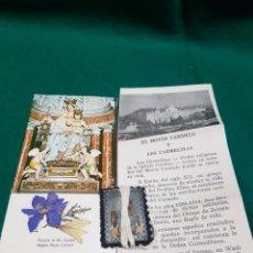 Antigüedades: ESCAPULARIO Y ESTAMPA CON FLOR SECA DE LOS CARMELITAS. Lote 128909103