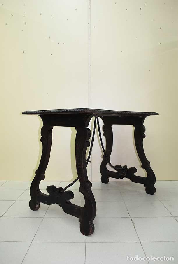 ANTIGUA MESA CASTELLANA PATAS DE LIRA (Antigüedades - Muebles Antiguos - Mesas Antiguas)