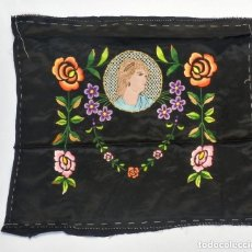 Antigüedades: 11412 LABOR ART NOUVEAU BORDADA A MANO SOBRE SEDA. S XIX. Lote 128925099