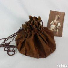 Antigüedades: NECESER BOLSO DE CUERO Y SEDA COMPARTIMENTADO, S XIX. Lote 128925935
