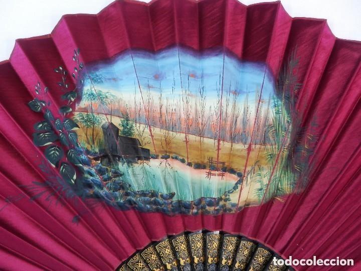 Antigüedades: Abanico pericón s XIX seda pintada a mano y madera ebonizada. Buen estado 35 cm - Foto 2 - 128926123