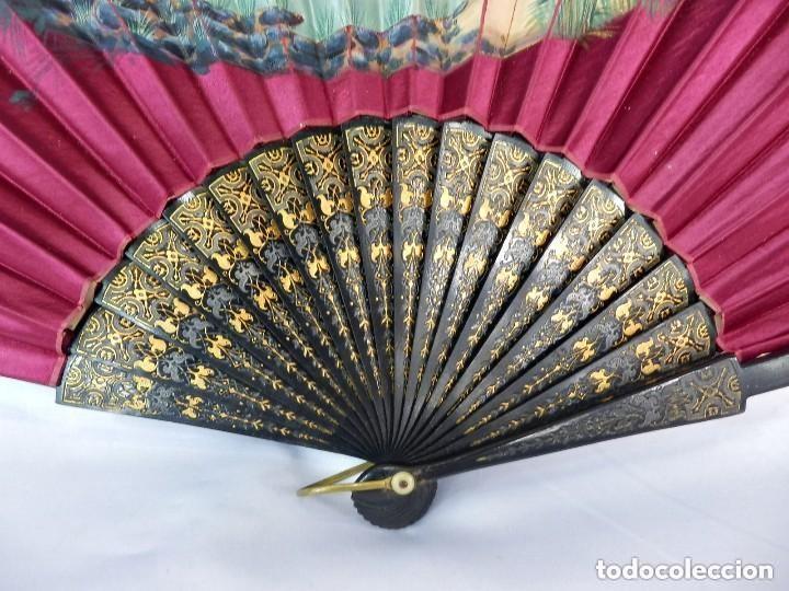 Antigüedades: Abanico pericón s XIX seda pintada a mano y madera ebonizada. Buen estado 35 cm - Foto 3 - 128926123