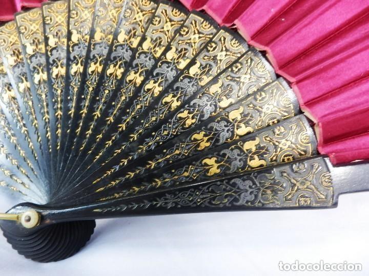 Antigüedades: Abanico pericón s XIX seda pintada a mano y madera ebonizada. Buen estado 35 cm - Foto 4 - 128926123