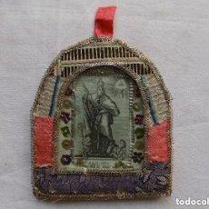 Antigüedades: LIBRERIA GHOTICA. EXCELENTE COLLAR DEL S. XVIII.CON EXVOTO DE SAN AGUSTÍN CON MARCO DE PLATA Y TELA. Lote 128954703