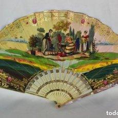 Antigüedades: ABANICO S XIX DE MARFIL Y NÁCAR, LITOGRAFÍA ILUMINADA.. Lote 128961943
