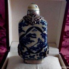 Antigüedades: PERFUMERO DE PORCELANA CHINA Y FILIGRANA DE PLATA TIBETANA.. Lote 128979087