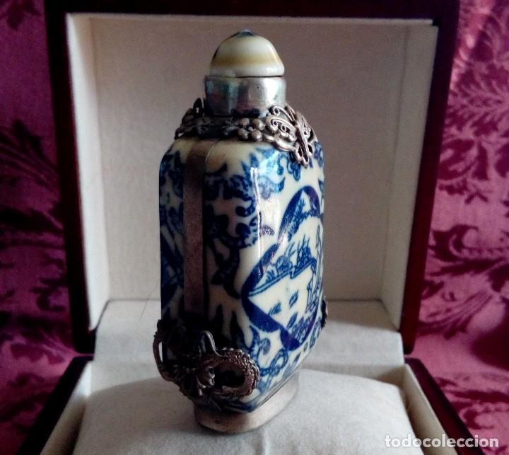 Antigüedades: PERFUMERO DE PORCELANA CHINA Y FILIGRANA DE PLATA TIBETANA. - Foto 2 - 128979087