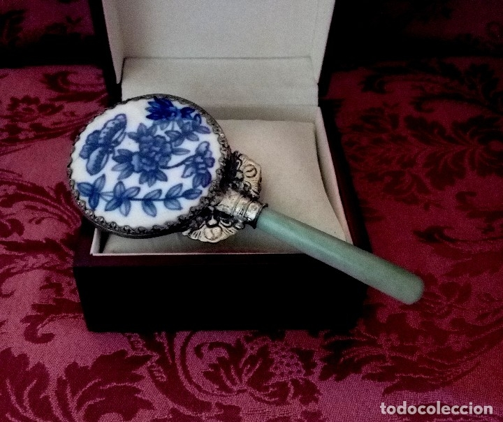 ESPEJO DE PORCELANA CHINA, PLATA TIBETANA Y JADE - 65 GRAMOS. (Antigüedades - Porcelanas y Cerámicas - China)