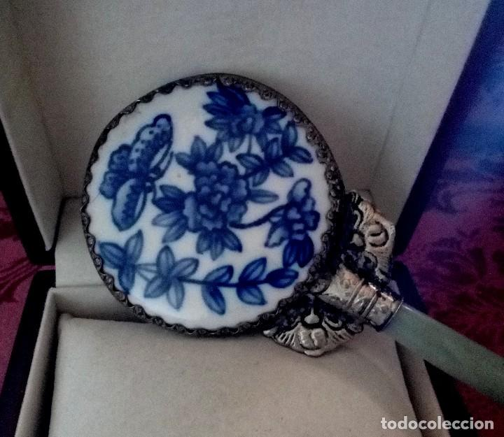 Antigüedades: ESPEJO DE PORCELANA CHINA, PLATA TIBETANA Y JADE - 65 GRAMOS. - Foto 5 - 128979643