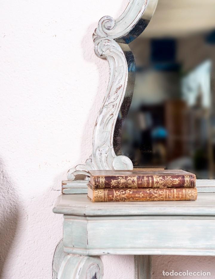 Antigüedades: Consola y Espejo Antiguo Restaurado Loaira - Foto 4 - 128997211