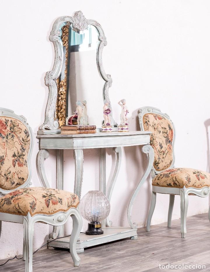 Antigüedades: Consola y Espejo Antiguo Restaurado Loaira - Foto 2 - 128997211