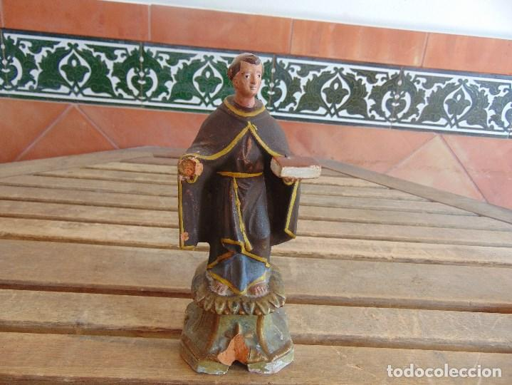 FIGURA EN BARRO O TERRACOTA DE SAN ANTONIO PARA COMPLETAR Y RESTAURAR MIDE 21.5 CM (Antigüedades - Religiosas - Varios)