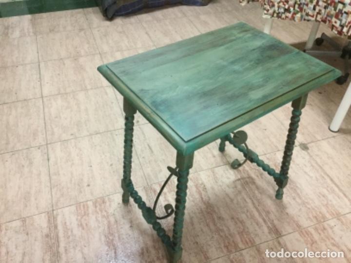 Antigüedades: Mesa castellana de pata de lenteja restaurada pintada en verde oliva de Annie Sloan. 70x60x40. S.XIX - Foto 4 - 129020751