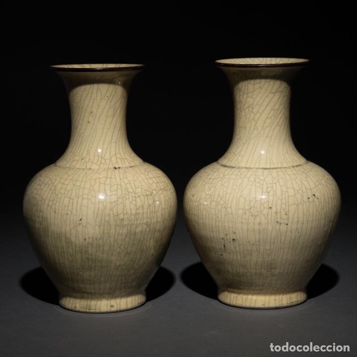 PAREJA JARRONES CHINOS SIGLO XIX (Antigüedades - Porcelanas y Cerámicas - China)