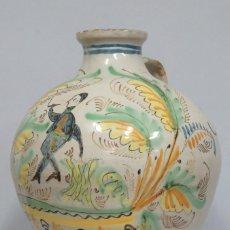 Antigüedades: GRAN CANTARO DE PUENTE DEL ARZOBISPO. RARA MOTIVO HOMBRE FUMANDO. FECHADO 1899. Lote 129031507
