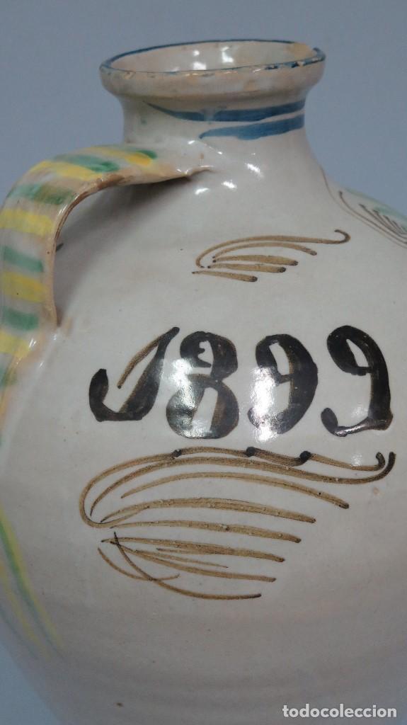 Antigüedades: GRAN CANTARO DE PUENTE DEL ARZOBISPO. RARA MOTIVO HOMBRE FUMANDO. FECHADO 1899 - Foto 4 - 129031507