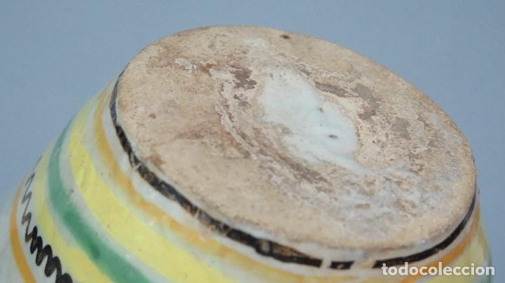 Antigüedades: GRAN CANTARO DE PUENTE DEL ARZOBISPO. RARA MOTIVO HOMBRE FUMANDO. FECHADO 1899 - Foto 8 - 129031507