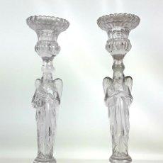 Antigüedades: PAREJA DE CANDELABROS DE CRISTAL. LLIGE Y CIA. BARCELONA. SIGLO XX.. Lote 129080287
