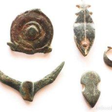 Antigüedades: LOTE DE OBJETOS ROMANOS Y MEDIEVALES. COLGANTE, HEBILLA DE PLATA, BOTON VISIGODO, APLIQUE ZOOMORFO. Lote 129080463
