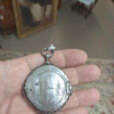 Antigüedades: RELICARIO DE PLATA SIGLO XVIII DOBLE CARA - CRISTO ATADO -. Lote 129092195