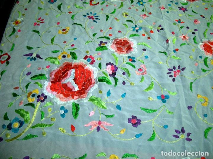 Antigüedades: Manton de manila bordado floral, en color crema - Foto 2 - 129144479
