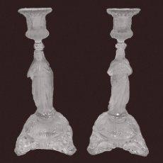 Antigüedades: ANTIGUA PAREJA DE CANDELABROS DE CRISTAL DE LALIQUE. PIEZAS DE IGLESIA. 29 CM DE ALTO. UNA MARAVILLA. Lote 128541095