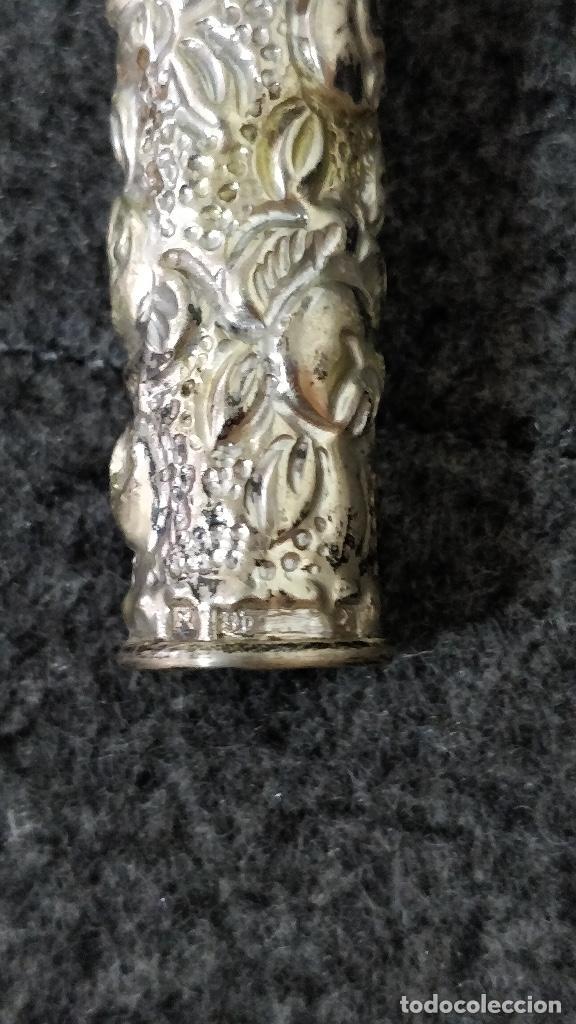 Antigüedades: Mango Paraguas/ Mango sombrilla de plata con motivos florales. - Foto 5 - 129207539