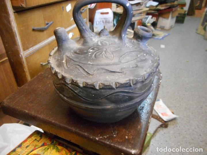 BOTIJO CANTI MODERNISTA VERDU CERAMICA NEGRA (Antigüedades - Porcelanas y Cerámicas - Catalana)
