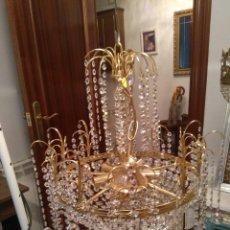 Antigüedades: LAMPARA DE LAGRIMAS DE CRISTAL RESTAURADA. Lote 129304435
