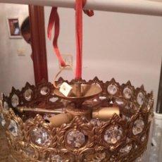 Antigüedades: ANTIGUA LAMPARA DE LAGRIMAS DE CRISTAL RESTAURADA. Lote 129304755