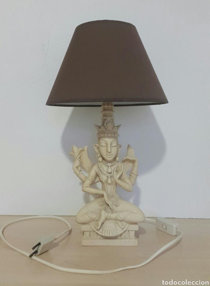 LAMPARA FIGURA SHIVA IMITACIÓN MARFIL (Antigüedades - Iluminación - Lámparas Antiguas)