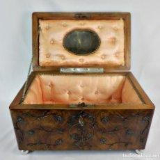 Antigüedades: GRAN CAJA DE MADERA Y FILIGRANA DE PLATA. COFFRET DE TOCADOR, CAJA DE NOVIA FINES S XIX. Lote 129364343