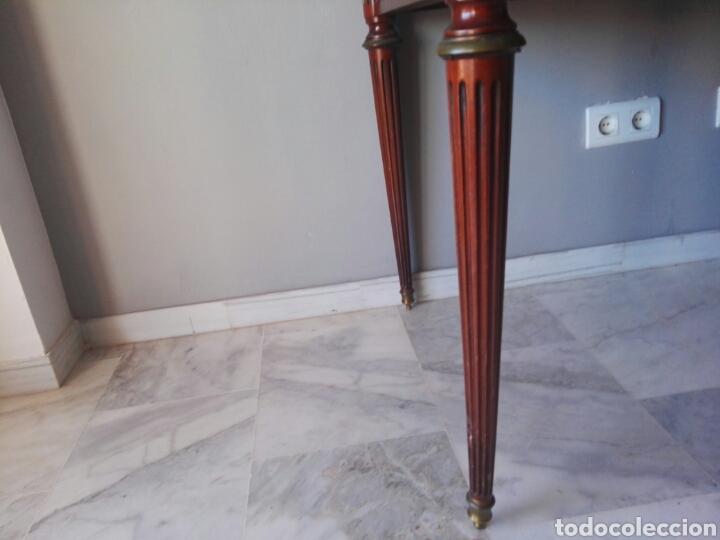 Antigüedades: Escritorio Mesa despacho con silla madera y bronce NO SE ENVIA - Foto 5 - 155259809