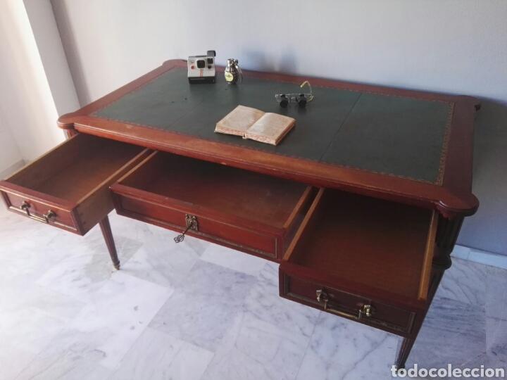 Antigüedades: Escritorio Mesa despacho con silla madera y bronce NO SE ENVIA - Foto 8 - 155259809