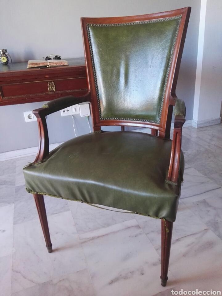 Antigüedades: Escritorio Mesa despacho con silla madera y bronce NO SE ENVIA - Foto 10 - 155259809