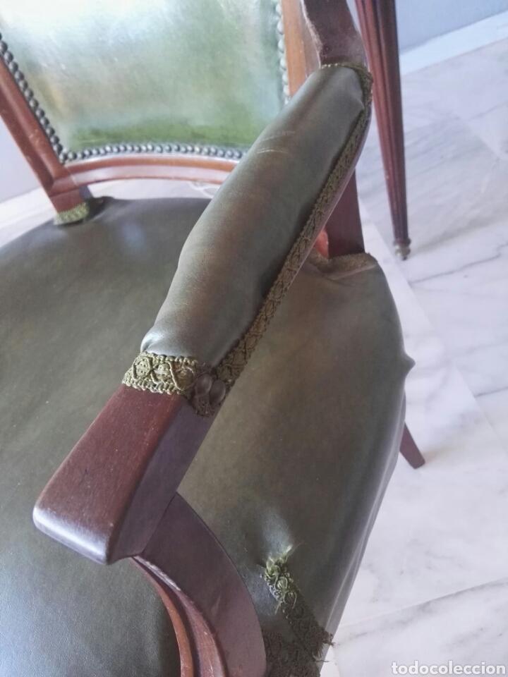 Antigüedades: Escritorio Mesa despacho con silla madera y bronce NO SE ENVIA - Foto 11 - 155259809