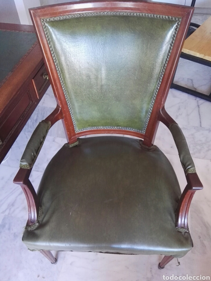 Antigüedades: Escritorio Mesa despacho con silla madera y bronce NO SE ENVIA - Foto 14 - 155259809
