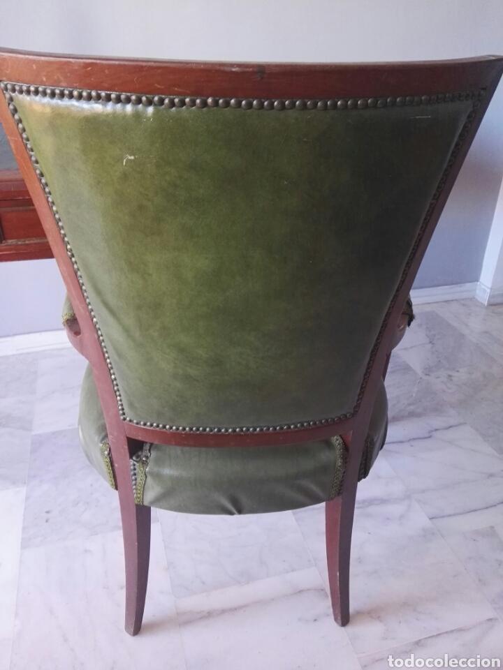 Antigüedades: Escritorio Mesa despacho con silla madera y bronce NO SE ENVIA - Foto 15 - 155259809