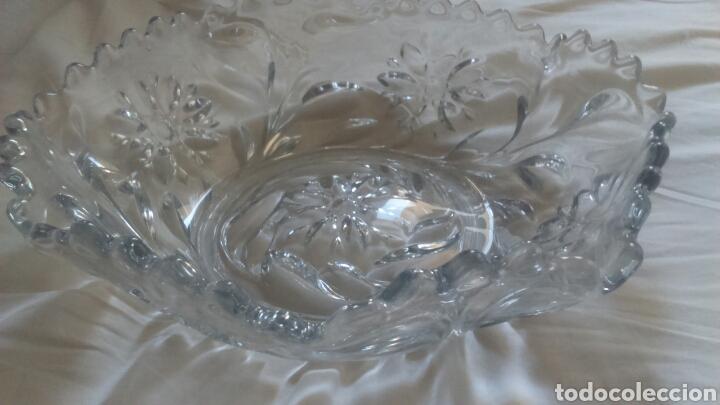 Antigüedades: Centro de mesa o ensaladera en cristal tallado a mano año 1865 aprox - Foto 8 - 129380278