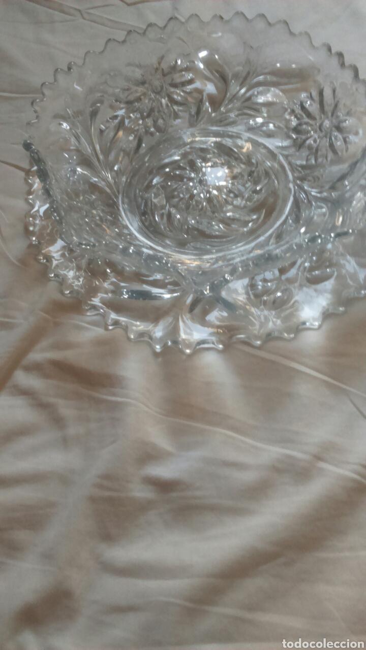 Antigüedades: Centro de mesa o ensaladera en cristal tallado a mano año 1865 aprox - Foto 12 - 129380278