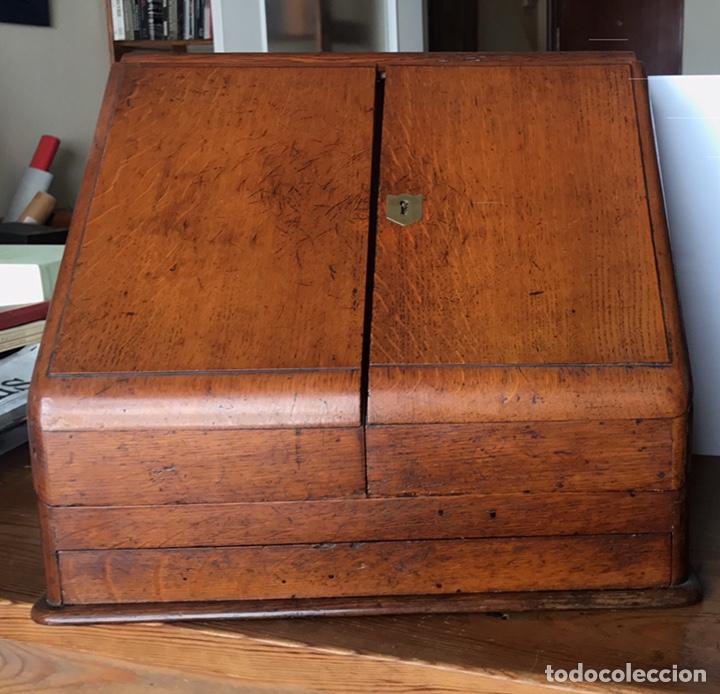 Antigüedades: Escribanía o Escritorio de Sobremesa en Nogal o Roble (?), Siglo XIX (?) - Foto 17 - 129429340