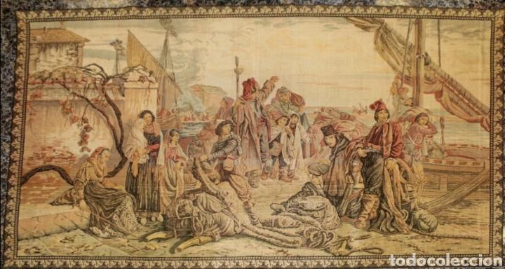 TAPIZ ESCENA PORTUARIA SIGLO XIX (Antigüedades - Hogar y Decoración - Tapices Antiguos)