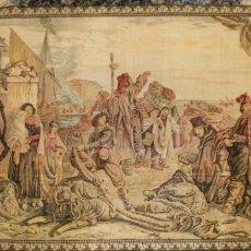 Antigüedades: TAPIZ ESCENA PORTUARIA SIGLO XIX. Lote 129458750