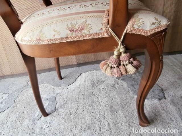 Antigüedades: SILLON ESTILO ISABELINO TAPIZADO Y CON RESPALDO DE REJILLA - Foto 4 - 129475515