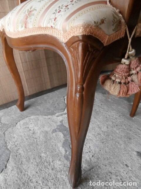 Antigüedades: SILLON ESTILO ISABELINO TAPIZADO Y CON RESPALDO DE REJILLA - Foto 7 - 129475515