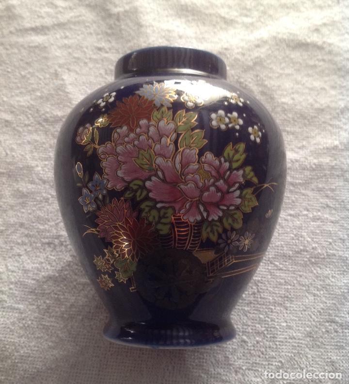 JARRON JAPONÉS SATSUMA AZUL CON DIBUJOS (Antigüedades - Porcelana y Cerámica - Japón)