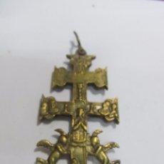 Antigüedades: CRUZ DE CARAVACA GRANDE DE BRONCE. Lote 158639804