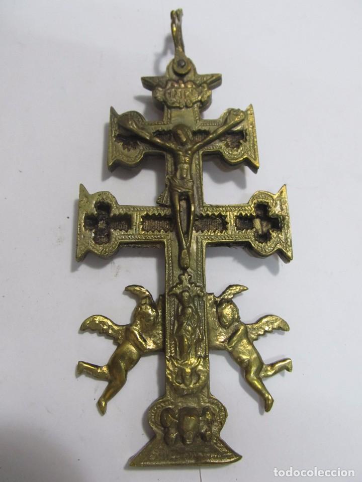 Antigüedades: CRUZ DE CARAVACA GRANDE DE BRONCE - Foto 2 - 158639804
